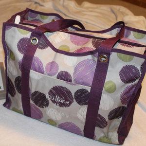 Thirty-One zip tote in Sketchy Purple Dot Print